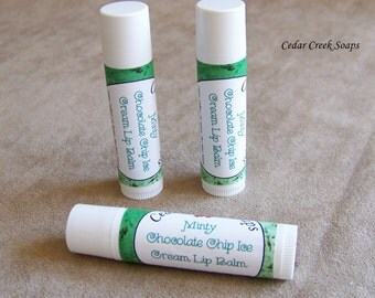 LIP BALM ~ Mint Chocolate Chip Ice Cream Lip Balm ~ Natural Lip Balm with Shea Butter