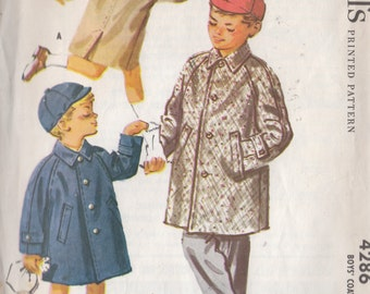 Vintage Sewing Pattern 1957 Boys Classic Raglan Sleeve Coat and Cap Size 3