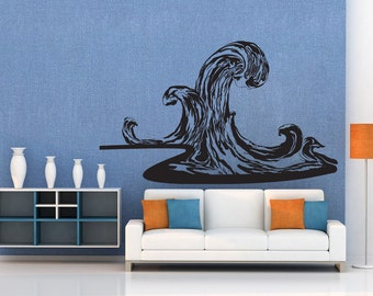Vinyl Wall Decal Sticker Tall Waves 1227m