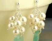 GENUINE Turquoise Sea Glass Earrings, Beach Glass Earrings, Seaglass Earrings, Pearl Earrings, Beach Wedding Earrings Sterling Silver