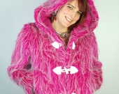 Pink Faux Fur Hooded Jacket, Coat, Neon White, Large Hood, Furry, M-L, Medium-Large, Ladies Party Wear Rave Festival Clothing, Burning Man