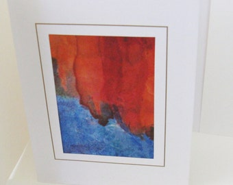 Hand painted silk card blue with orange tones blank note card 6x4 inches