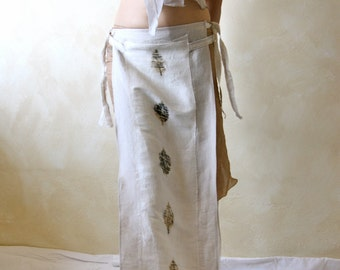 Long Sarong, long skirt, panel skirt, Bohemian skirt, eco print skirt, linen skirt, organic skirt, cover up, maternity skirt, tribal skirt
