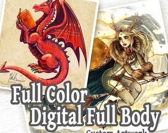 COMMISSION: Full Color Digital Painting - 1 Full Body Character - Custom Art, Commissioned Art, Tattoo Design