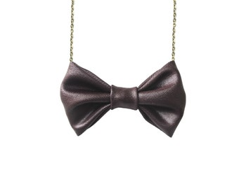 Brown Satin Bow Tie Necklace -  Bowtie for Women, Bridesmaids, Party Favors, Chocolate Brown Polyester