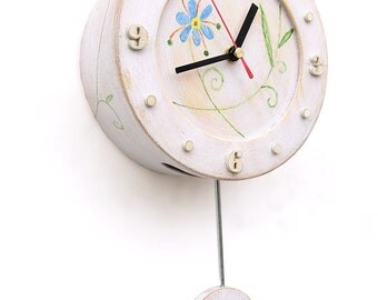 Pendulum Circle White Wall Clock, Folk style art, Wall hanging Unique home decor, Folk flowers ornament, Xmas - Birthday gift, FREE SHIPPING