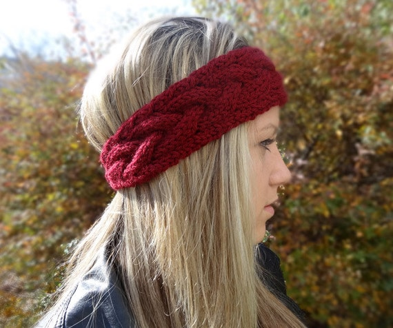 Knit Pattern Headband With Button Closure : Cabled Chunky Headband Knit Headband Burgundy Red by ...