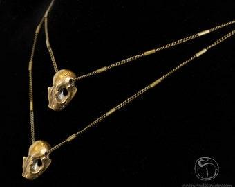Xmas in July Sale Brass Bat Skull Charm Necklace