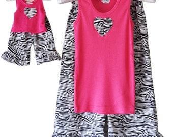 SALE - American Made Matching Girl Doll Pajamas - Flannel, Zebra Print, Hot Pink, Ruffled, Pj Set, Capris, Tank, XSMALL