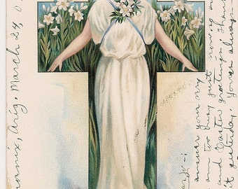 Victorian Easter Postcard Lady of the White Lily Flowers 1907