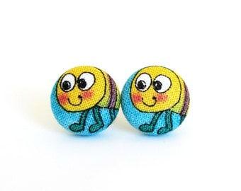 SALE Earrings for girls - funny button earrings - happy bug stud earrings - blue yellow fabric earrings funky animal - kids children