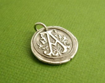 Wax Seal Monogram Pendant, Initial Charm, Personalized Initial, Fine Silver, Sterling Silver, Made To Order