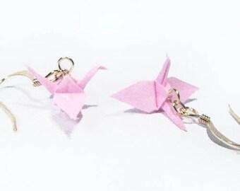 "Origami Crane earrings Miniature 3/4""   -  Light  Pink  Paper Crane Earrings Solid Color"