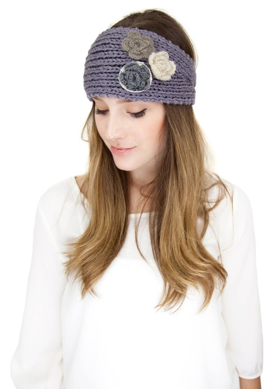 Knit Pattern Headband With Button Closure : GRAY FLORAL KNIT headband metal button closure by gertiebaxter