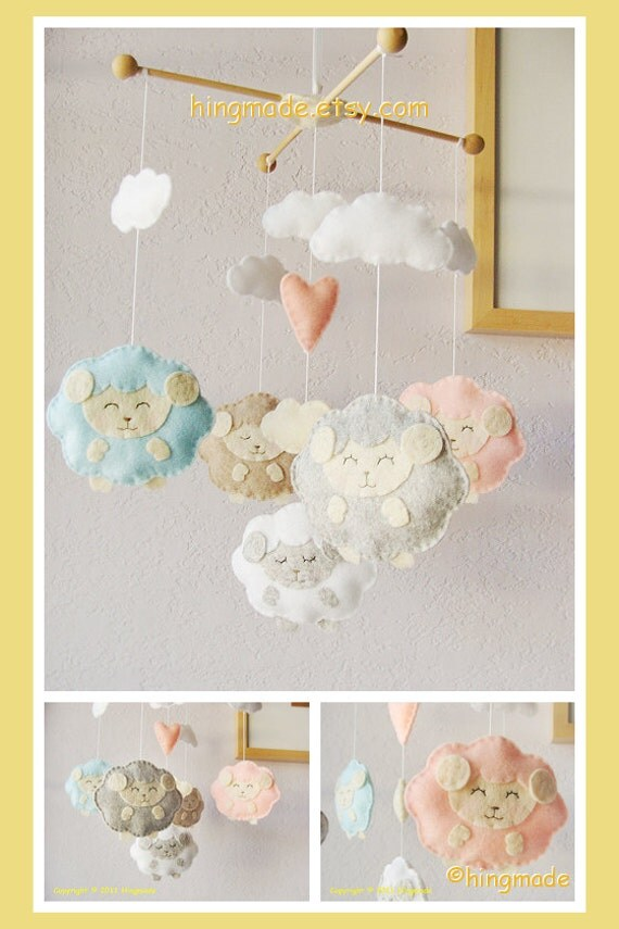 Lamb Baby Mobile Baby Crib Mobile Sweet Lamb Mobile By