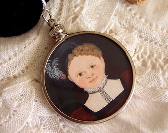 Portrait of a Young Lady - Handpainted Elizabethan Style Miniature in a Glass and Steel Frame Locket Pendant