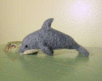 Felted Dolphin Miniature - Needle Felted Animal - Soft Sculpture