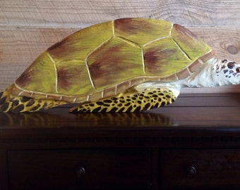 "Sea Turtle 36"" chainsaw wood reptile carving endangered coastal sealife rustic wall mount home decor wooden turtle hand painted original art"
