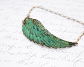 Wing Bracelet Verdigris Patina Wing Feather Bracelet Rustic Green Bracelet Angel Bird Bracelet Fairie Wing Woodland Wedding Jewelry