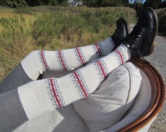 Fair Isle Over the Knee Thigh High Socks Leg Warmers Ivory Striped Knit Women's Cotton Boot Sock A1514