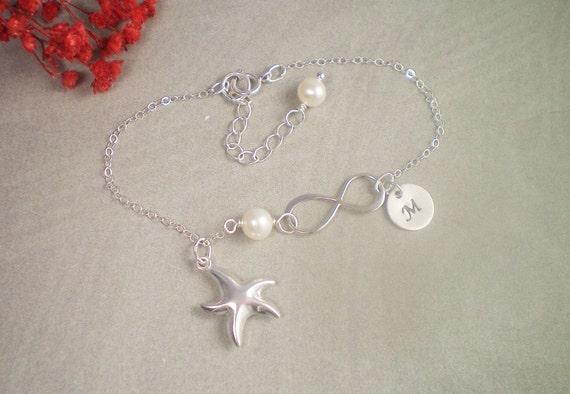 Personalized Starfish Infinity Birthstone Bracelet, Sterling Silver, Birthstone Gems, Bridesmaid Bracelet, Beach Wedding