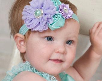 Lavender and Aqua Baby headband, baby headbands, girls headbands,newborn headband, Flower baby headband, Easter Headband, Hair Bows. # 8