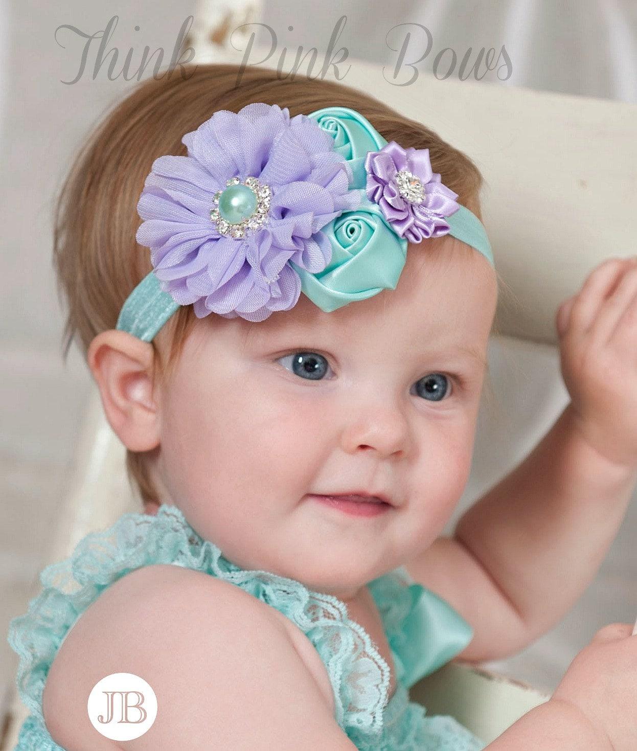 lavender and aqua baby headband baby headbands by lavender and aqua baby headband baby headbands by