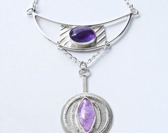 Amethyst Pendant Necklace - Sterling Silver Artistic Design Modern Contemporary Art Jewelry OOAK Avante Garde