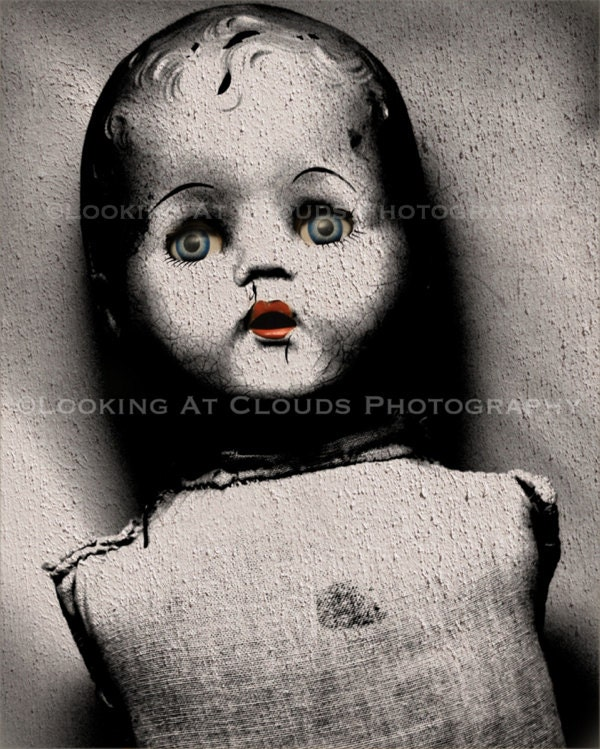 Scary Black And White Creepy Doll Photo Old Doll Body With