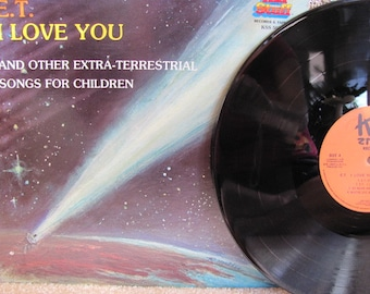 "Vintage 80's ""E.T. I Love You and Other Extraterrestrial Songs for Children"" Vinyl Record Album - Children's Album - 80's Children's Record"