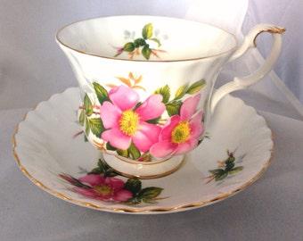 Vintage Royal Albert China Prairie Rose Cup & Saucer Set - English Fine Bone China  - wild moss rose pattern - pink, magenta, green, fuchsia
