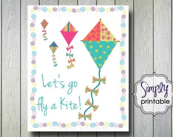 Let's Go Fly A Kite Digital 8x10 Wall Print