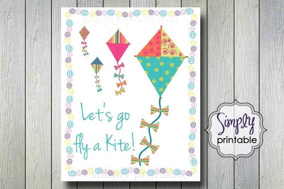 Let's Go Fly A Kite Digital 8x10 Wall Print