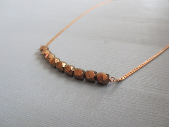 Galaxy - Copper Layering Necklace with Faceted Geometric Pendant Beads (Collier en Cuivre) by InfinEight