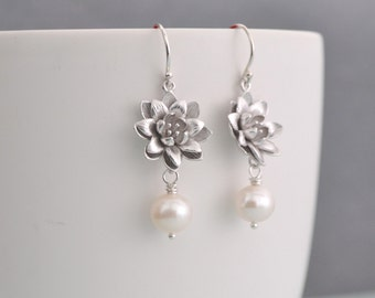 Silver Lotus Flower Earrings, White Freshwater Pearl,  Argentium Sterling Silver Hoops, Water Lily Flower, Gift Under 25