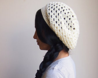 Woman Granny slouchy hat, woman  beanie, off white  beret woman teen girl