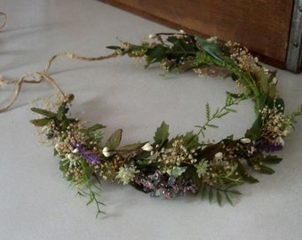 Leafy flower crown botanical Ivy Vine Woodland Bridal Hair wreath Winter Wedding Accessories Rustic Barn wedding dried floral halo Headdress