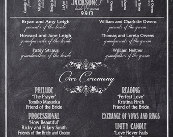 Chalkboard Wedding Programs, Black and White Ceremony Programs, Wedding Party Silhouette, Custom Programs