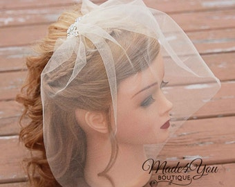 3 Different Colors-Tulle Bridal Veil with Jewel-Bridal Illusions Tulle Jeweled Veil