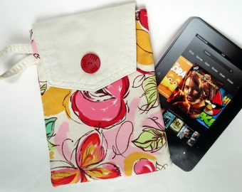White Denim Kindle, Nook Bag with Pink, Red, Gold Impressionist Print, with Zippered Pocket, Upcycled from White Jeans and Print Capris