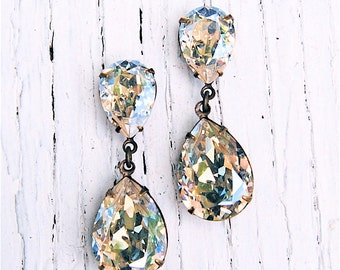 Moonlight Earrings Swarovski Crystal Earrings Dangle Post Rhinestone Drop Earrings Duchess Hourglass Mashugana