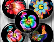 """Folk Rooster - Printable Digital Collage Sheets CG-760 - 1.5"""", 1.25"""", 30mm, 25mm, 1"""" circles for Jewelry Making, Scrapbooking, Bottle Caps"""