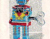 Portrait Drawing Illustration Giclee Prints Posters Mixed Media Art Acrylic Painting Holiday Decor Gifts: Robot - 1