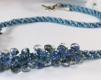 Kumihimo Necklace - Blue Handcrafted Kumihimo Necklace - Unicorne BlueGlass Teardrops and Shades of Blue sead bead