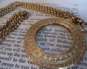 Vintage Necklace Pendant Monocle Magnifying Glass