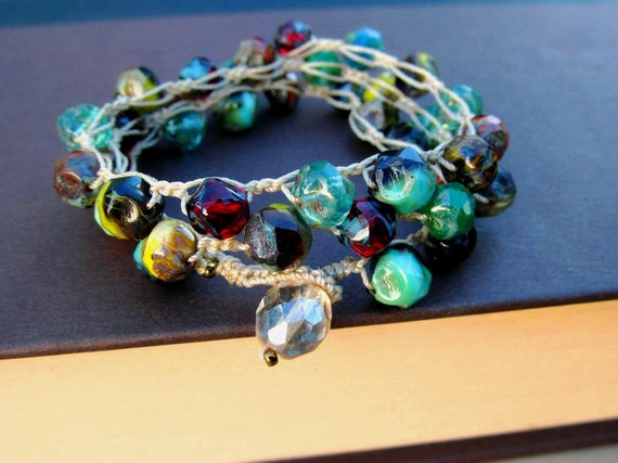 Bohemian Jewelry Wrap, Colorful Crochet Necklace or Bracelet - Boho Indie
