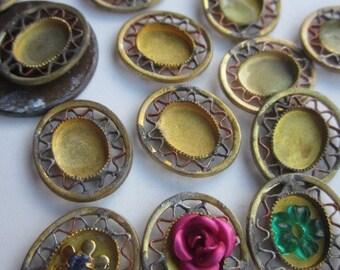 Tiny Antique Setting With Wonderful Patina Finish