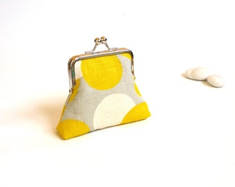 Retro purse, mid century purse, yellow gray purse, vintage linen coin purse, spot silver summer, geometric dots circles, citrus sunshine