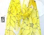 Silk Scarf Handpainted, Gift for her, Birthday Gift, Yellow Scarf with Black Line Drawing, Silk Chiffon Scarf, 11x59 inches, Made to order,