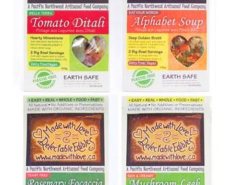 Four Artisan Magic Meals - Gourmet Gift Box - Food - Edible Gift Set -  DIY Bread Mix - Soup Mix - Magic Meal Mix - Organic Food Meal Mix